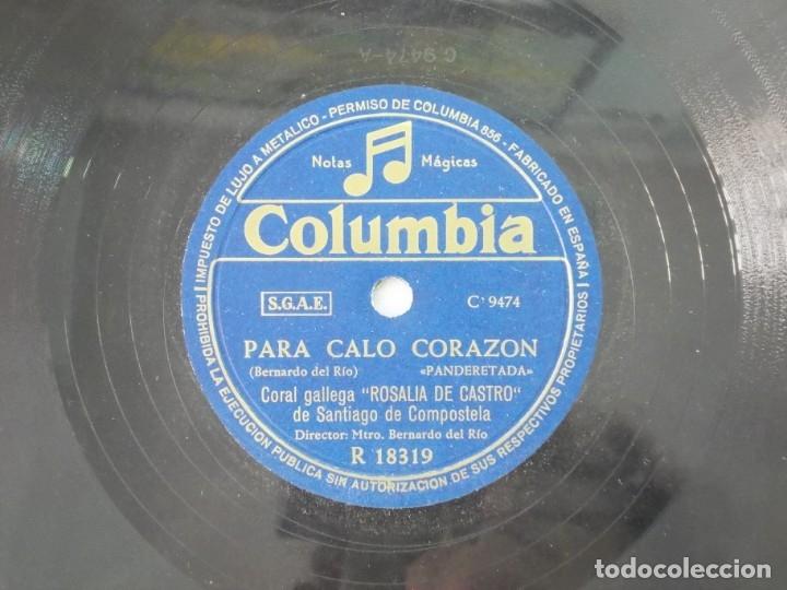Discos de pizarra: ANTIGUO DISCO DE PIZARRA GALLEGO CORAL ROSALIA DE CASTRO -A NIÑA ROSINA - PARA CALO CORAZON - Foto 3 - 176684583