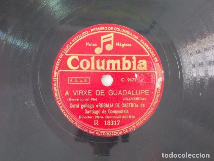 ANTIGUO DISCO DE PIZARRA GALLEGO CORAL ROSALIA DE CASTRO -A VIRXE DE GUADALUPE- MOY BEN CAPEAL (Música - Discos - Pizarra - Flamenco, Canción española y Cuplé)