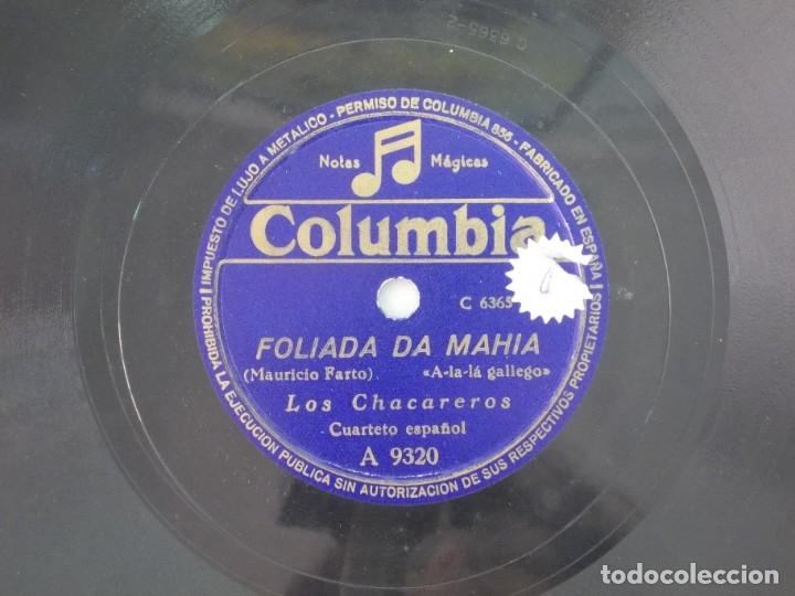 ANTIGUO DISCO DE PIZARRA GALLEGO LOS CHACAREROS -FOLIADA DA MAHIA- ALDEIÑA DE BALDAYO (Música - Discos - Pizarra - Flamenco, Canción española y Cuplé)