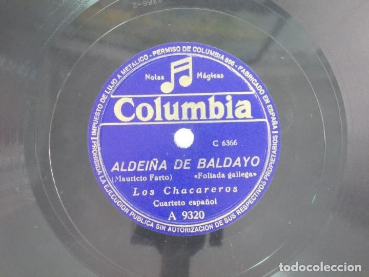 Discos de pizarra: ANTIGUO DISCO DE PIZARRA GALLEGO LOS CHACAREROS -FOLIADA DA MAHIA- ALDEIÑA DE BALDAYO - Foto 3 - 176686277