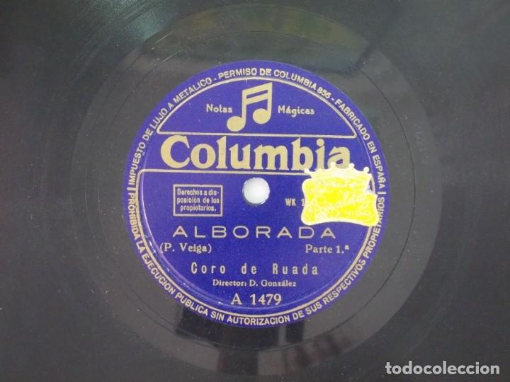 ANTIGUO DISCO DE PIZARRA GALLEGO CORO DE RUADA -ALBORADA - (Música - Discos - Pizarra - Flamenco, Canción española y Cuplé)