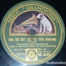 Discos de pizarra: DISCO 78 RPM - GRAMOFONO - ORQUESTA LOUIS ARMSTRONG - THAT´S MY HOME - JAZZ -FOXTROT - PIZARRA. Lote 176689833