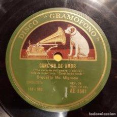 Discos de pizarra: DISCO 78 RPM - GRAMOFONO - ORQUESTA MO MIGNONE - FILM - CANCION DE AMOR - BIXIO - JAZZ - PIZARRA. Lote 176690408