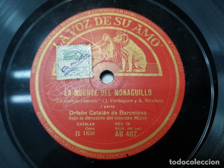 DISCO PIZARRA-LA MUERTE DEL MONAGUILLO-ORFEON CATALAN SELLADO REV 78 (Música - Discos - Pizarra - Flamenco, Canción española y Cuplé)