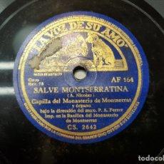 Discos de pizarra: DISCO PIZARRA-SALVE MONSERRATINA-CAPILLA MONASTERIO MONSERRAT REV 78. Lote 176930163