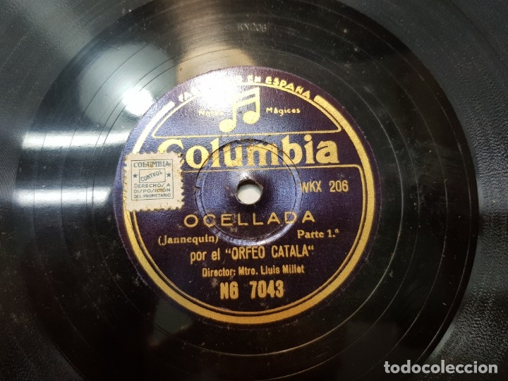 DISCO PIZARRA-OCELLADA-ORFEO CATALA REV 78 SELLADO (Música - Discos - Pizarra - Flamenco, Canción española y Cuplé)