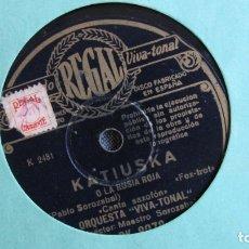 Discos de pizarra: DISCO DE PIZARRA - KATIUSKA LA RUISIA ROJA - PABLO SOROZÁBAL. Lote 177112923