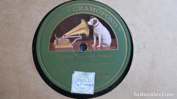 DISCO DE PIZARRA - HEROINA - FELICIANO PONSA - LOS VOLUNTARIOS, GIMÉNEZ - REGIMIENTO BADAJOZ (Música - Discos - Pizarra - Flamenco, Canción española y Cuplé)