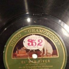 Discos de pizarra: DISCO 78 RPM - GRAMOFONO - ORQUESTA PAUL WHITEMAN - OL´MAN RIVER - SHOW BOAT - KERN - PIZARRA. Lote 177371774