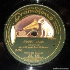 Discos de pizarra: DISCO 78 RPM - GRAMOFONO - ORQUESTA PAUL WHITEMAN - SWEET LADY - SAY IT WITH MUSIC - JAZZ - PIZARRA. Lote 177373502