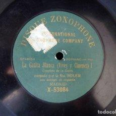 Discos de pizarra: DISCO PIZARRA. ROSARIO SOLER. LA GATITA BLANCA (VIVES Y GIMENEZ) I. COUPLETS GATITA. DISQUE ZONOPHON. Lote 177386079