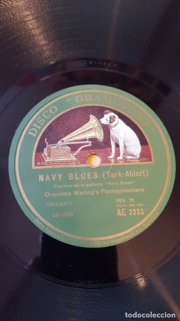 DISCO 78 RPM - GRAMOFONO - ORQUESTA WARING´S PENNSYLVANIANS - FILM - NAVY BLUES - FOXTROT - PIZARRA (Música - Discos - Pizarra - Jazz, Blues, R&B, Soul y Gospel)
