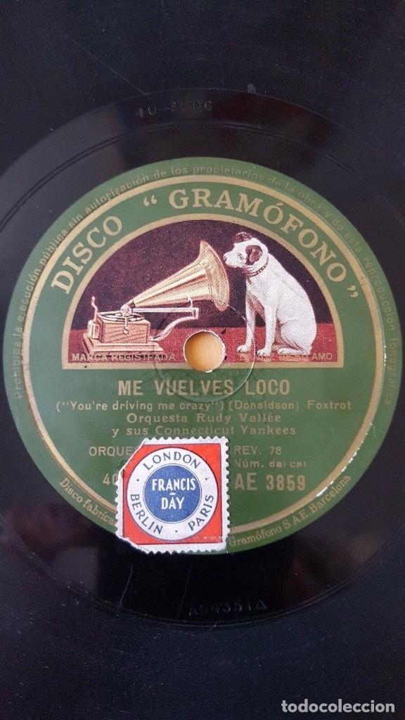 DISCO 78 RPM - GRAMOFONO - RUDY VALLEE - CONNECTICUT YANKEES - ME VUELVES LOCO - FOXTROT - PIZARRA (Música - Discos - Pizarra - Jazz, Blues, R&B, Soul y Gospel)