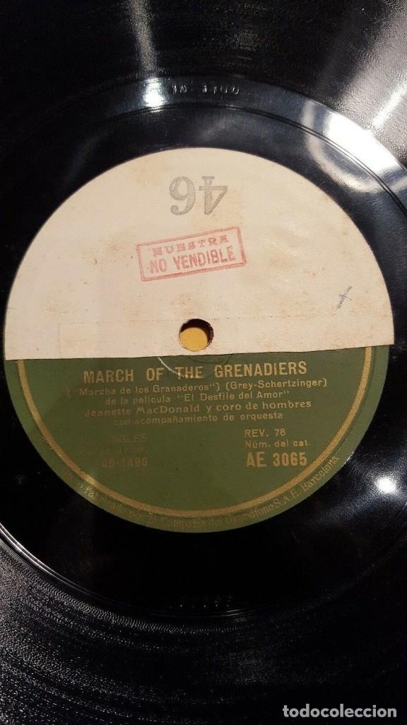 DISCO 78 RPM - GRAMOFONO MUESTRA - JEANETTE MACDONALD - CORO - FILM - EL DESFILE DEL AMOR - PIZARRA (Música - Discos - Pizarra - Jazz, Blues, R&B, Soul y Gospel)