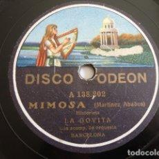 Dischi in gommalacca: LA GOYITA - MIMOSA/ AMOR DE MUÑECOS (MARTÍNEZ ABADES) - ODEON A 138.202. Lote 177415185