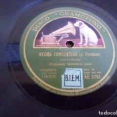 Discos de pizarra: ORQUESTA DEMON´S JAZZ-DISCO GRAMOFONO(NEGRA CONSENTIDA-MAMA INES)DISCO PIZARRA 78 RPM,BARCELONA 1932. Lote 186318638