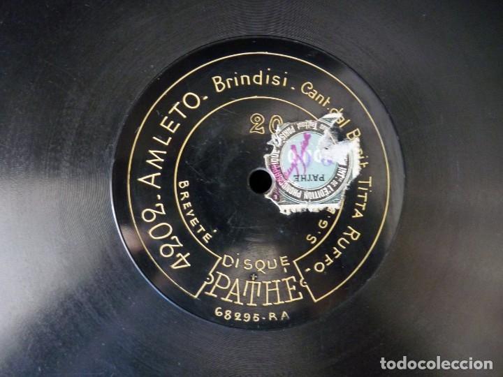 DISCO PIZARRA. TITTA RUFFO. PATHE 4202 AMLETO, BRINDISI - 4205 SIBERIA, O BELLA MIA. 12 MONOFACIAL (Música - Discos - Pizarra - Clásica, Ópera, Zarzuela y Marchas)