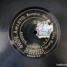 Discos de pizarra: DISCO PIZARRA. TITTA RUFFO. PATHE 4202 AMLETO, BRINDISI - 4205 SIBERIA, O BELLA MIA. 12 MONOFACIAL. Lote 177438935