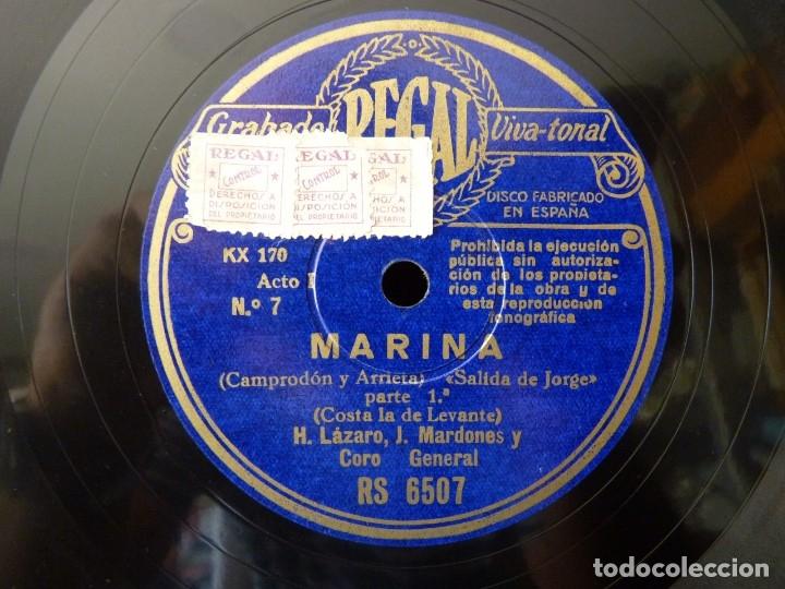 ZARZUELA. MARINA Nº7-8. SALIDA DE JORGE, PARTES 1-2. M.CASPIR H. LÁZARO Y J. MARDONÉS. REGAL RS6507 (Música - Discos - Pizarra - Clásica, Ópera, Zarzuela y Marchas)