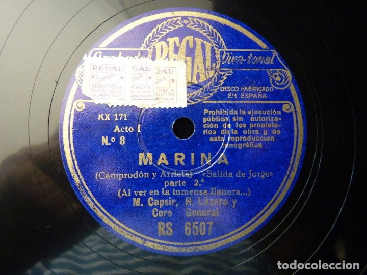 Discos de pizarra: ZARZUELA. MARINA Nº7-8. SALIDA DE JORGE, PARTES 1-2. M.CASPIR H. LÁZARO Y J. MARDONÉS. REGAL RS6507 - Foto 3 - 177602434