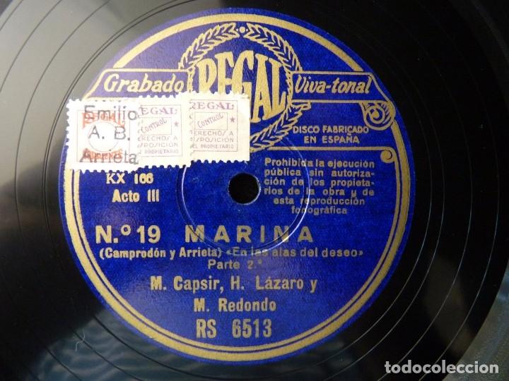 ZARZUELA. MARINA Nº19-20. SEGUIDILLAS - EN LAS ALAS DEL DESEO. CASPIR, LÁZARO Y REDONDO. REGAL RS651 (Música - Discos - Pizarra - Clásica, Ópera, Zarzuela y Marchas)