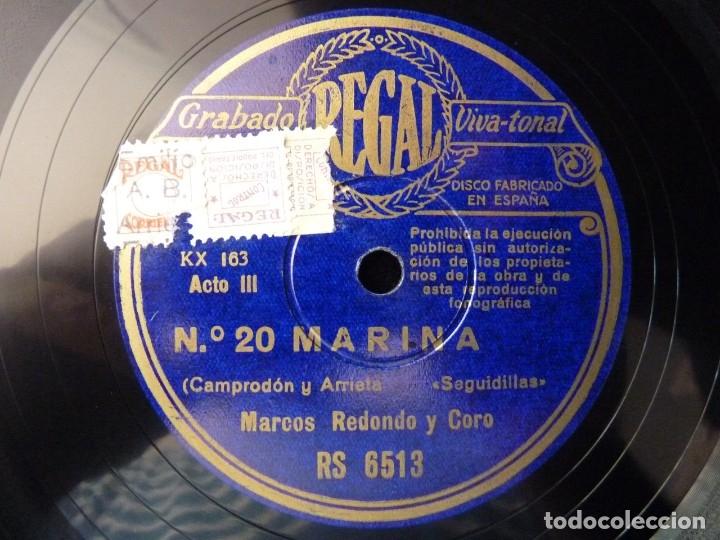 Discos de pizarra: ZARZUELA. MARINA Nº19-20. SEGUIDILLAS - EN LAS ALAS DEL DESEO. CASPIR, LÁZARO Y REDONDO. REGAL RS651 - Foto 3 - 177602515