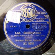 Discos de pizarra: DISCO PIZARRA. ZARZUELA. LAS GOLONDRINAS. CAMINAR - SE REÍA...MARCOS REDONDO. REGAL LKX5016. Lote 177602609