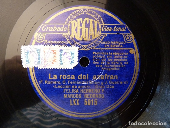 ZARZUELA. LA ROSA DEL AZAFRAN, LECCIÓN DE AMOR-LA CANCIÓN DEL SEMBRADOR. M. REDONDO. REGAL LKX5015 (Música - Discos - Pizarra - Clásica, Ópera, Zarzuela y Marchas)
