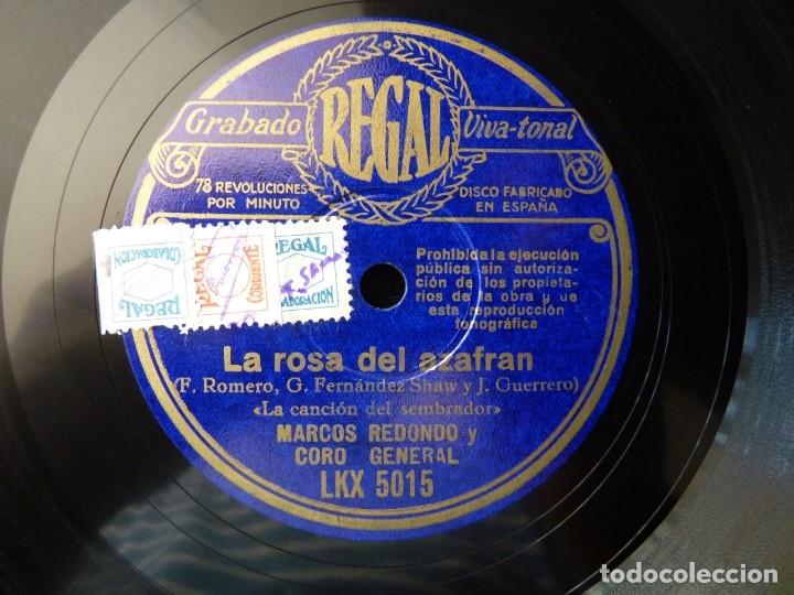 Discos de pizarra: ZARZUELA. LA ROSA DEL AZAFRAN, LECCIÓN DE AMOR-LA CANCIÓN DEL SEMBRADOR. M. REDONDO. REGAL LKX5015 - Foto 3 - 177602855