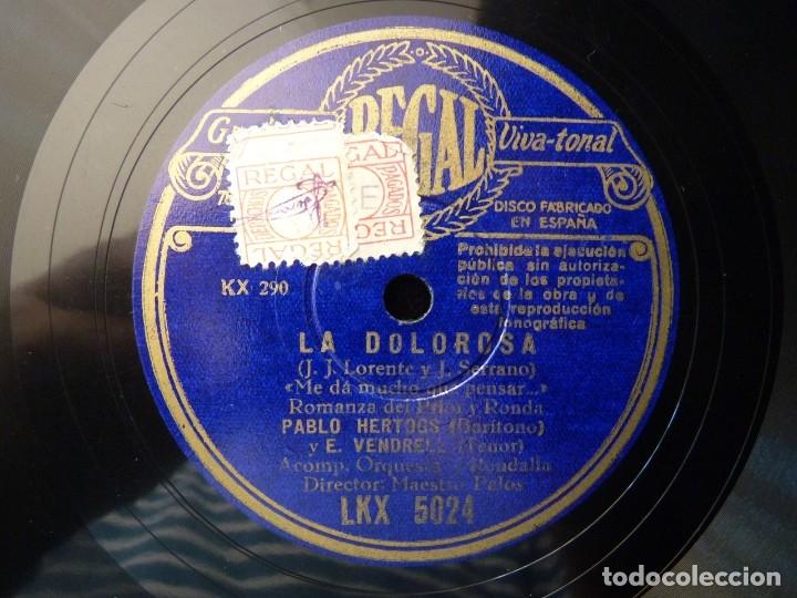 ZARZUELA. LA DOLOROSA, LA ROCA FRÍA... ME DA MUCHO QUE PENSAR... VENDRELL - HERTOGS. REGAL LKX5024 (Música - Discos - Pizarra - Clásica, Ópera, Zarzuela y Marchas)
