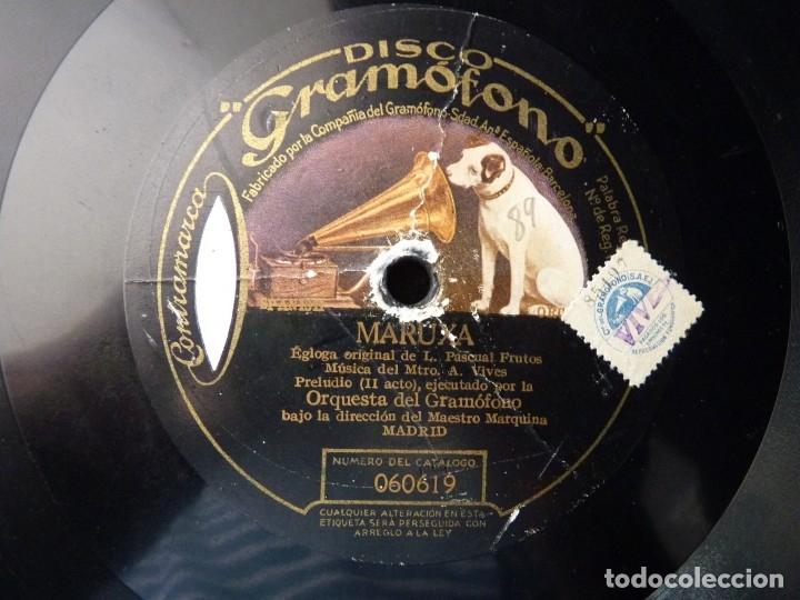 ZARZUELA. MARUXA. PRELUDIO 2º ACTO - BAILABLE Y CORO. ORQ, GRAMOFONO. MARQUINA. DISCO GRAMÓFONO 0666 (Música - Discos - Pizarra - Clásica, Ópera, Zarzuela y Marchas)