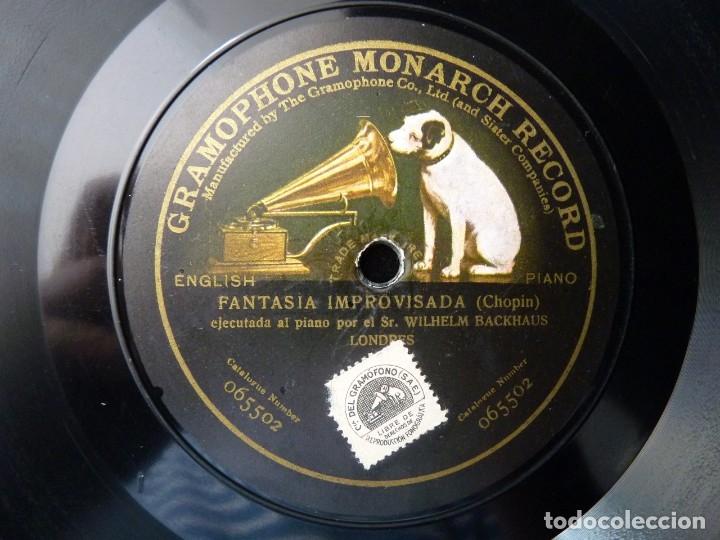 CHOPIN, FANTASIA IMPROVISADA. W. BACKHAUS - LISZT, RAPSODIA. I. SCHARRER. MONARCH RECORD GRAMOPHONE (Música - Discos - Pizarra - Clásica, Ópera, Zarzuela y Marchas)