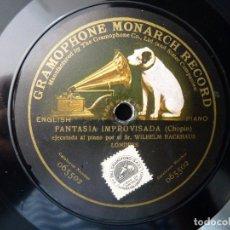 Discos de pizarra: CHOPIN, FANTASIA IMPROVISADA. W. BACKHAUS - LISZT, RAPSODIA. I. SCHARRER. MONARCH RECORD GRAMOPHONE. Lote 177603684