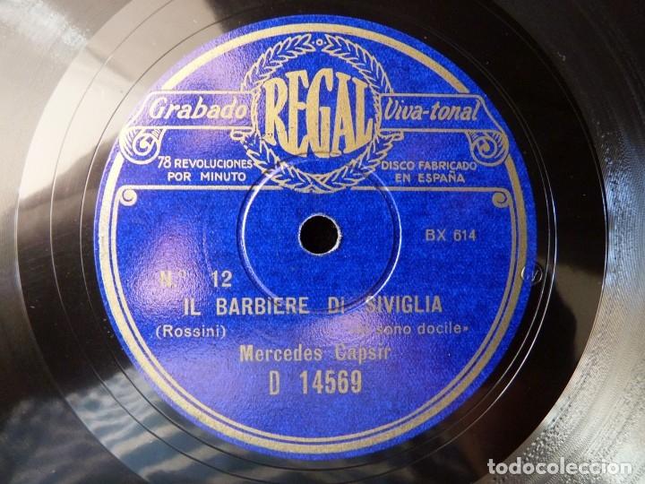 DISCO PIZARRA. IL BARBIERE DI SIVIGLIA. UNA VOCE POCO FA- LO SONO DOCILE. MERCEDES CAPSIR. REGAL D14 (Música - Discos - Pizarra - Clásica, Ópera, Zarzuela y Marchas)