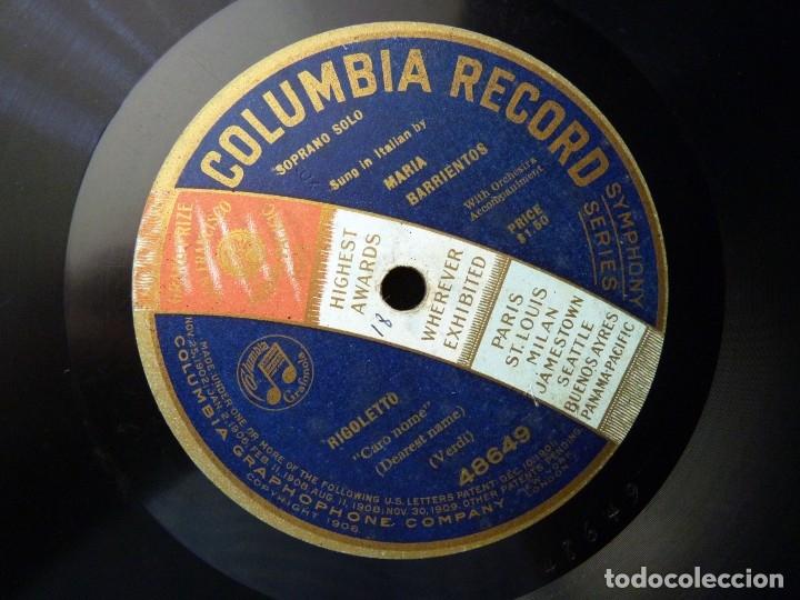 RIGOLETTO (VERDI). CARO NOME. MARÍA BARRIENTOS CON ACOMP.ORQUESTA. COLUMBIA RECORD 48649. MONOFACIAL (Música - Discos - Pizarra - Clásica, Ópera, Zarzuela y Marchas)