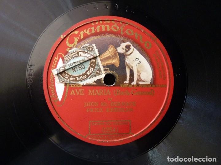 AVE MARIA (BACH-GOUNOD). FRITZ KREISLER - J. MC. CORMACK. DISCO GRAMÓFONO 02541. MONOFACIAL (Música - Discos - Pizarra - Clásica, Ópera, Zarzuela y Marchas)