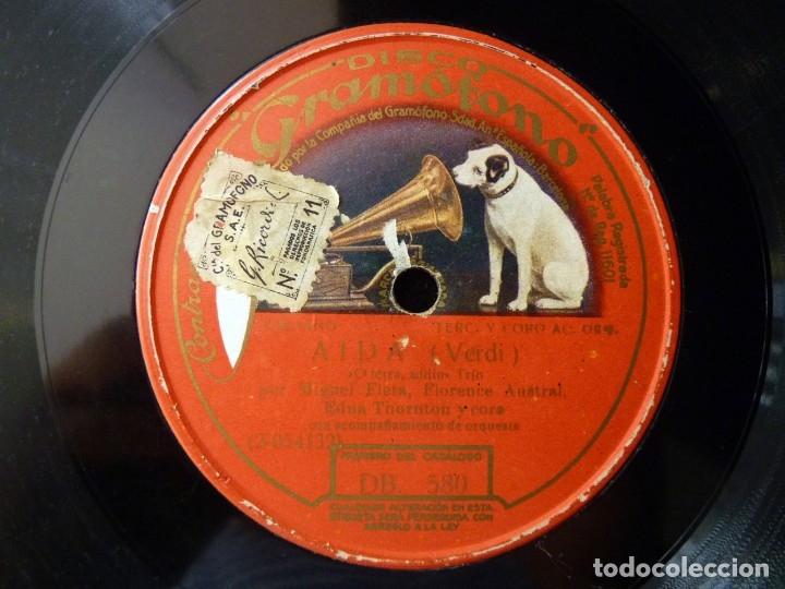 AIDA (VERDI). O TERRA, ADDIO... MIGUEL FLETA - FLORENCE AUSTRAL - EDNA THORNTON. DISCO GRAMOFONO DB (Música - Discos - Pizarra - Clásica, Ópera, Zarzuela y Marchas)