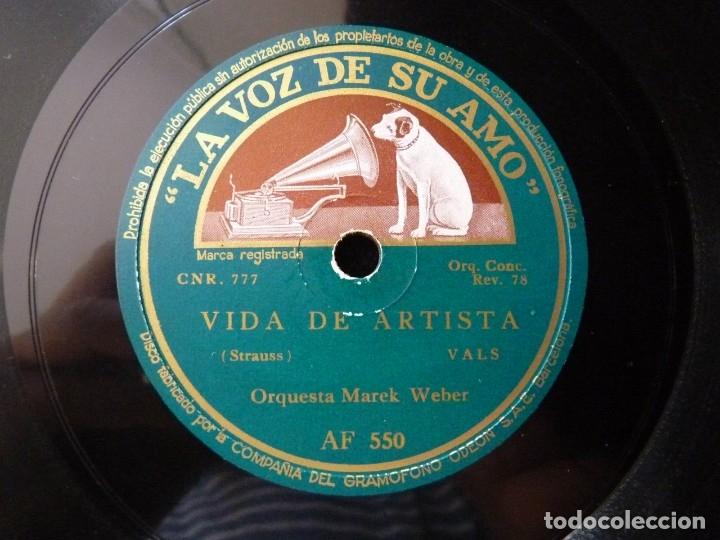 VALS. LAS OLAS DEL DANUBIO - VIDA DE ARTISTA. ORQUESTA MAREK WEBER. LA VOZ DE SU AMO AF 550 (Música - Discos - Pizarra - Clásica, Ópera, Zarzuela y Marchas)