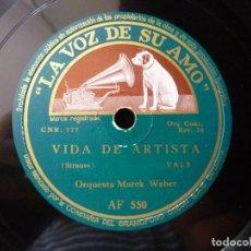 Discos de pizarra: VALS. LAS OLAS DEL DANUBIO - VIDA DE ARTISTA. ORQUESTA MAREK WEBER. LA VOZ DE SU AMO AF 550. Lote 177641419