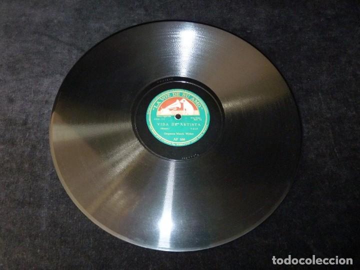 Discos de pizarra: VALS. LAS OLAS DEL DANUBIO - VIDA DE ARTISTA. ORQUESTA MAREK WEBER. LA VOZ DE SU AMO AF 550 - Foto 2 - 177641419