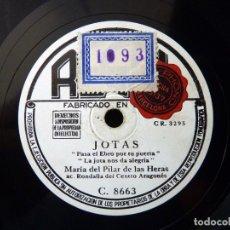 Discos de pizarra: MARIA DEL PILAR DE LAS HERAS CON RONDALLA DEL CENTRO ARAGONES. JOTAS DE BAILE. REGAL C.8663. Lote 177876399