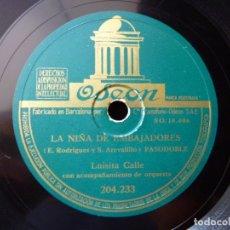 Discos de pizarra: LUISITA CALLE Y ORQUESTA. PASODOBLES, TENGO MIEDO, TORERO Y LA NIÑA DE EMBAJADORES. ODEON 204233. Lote 177876720