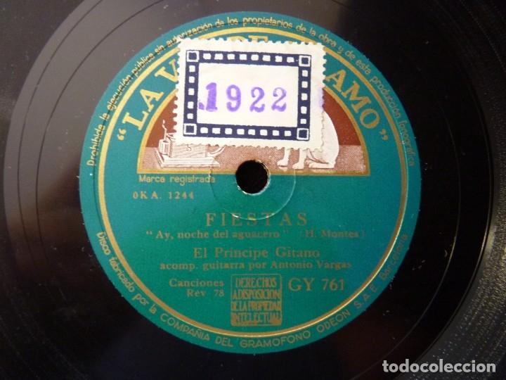 Discos de pizarra: EL PRINCIPE GITANO Y ORQUESTA. TIENES MUCHA FANTASÍA, ZAMBRA. FIESTAS, LA VOZ DE SU AMO GY761 - Foto 3 - 177877319