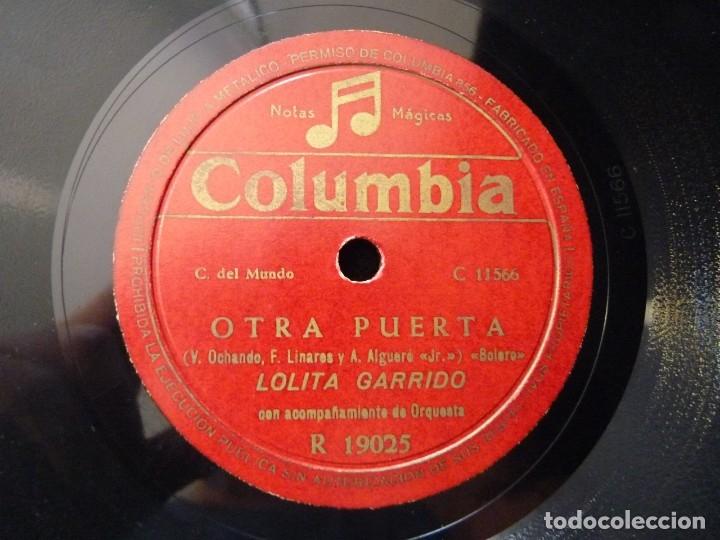 LOLITA GARRIDO Y ORQUESTA. OTRA PUERTA, BOLERO. LA DANZA DEL BESAR, BAIAO. COLUMBIA R19025 (Música - Discos - Pizarra - Flamenco, Canción española y Cuplé)