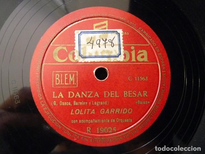 Discos de pizarra: LOLITA GARRIDO Y ORQUESTA. OTRA PUERTA, BOLERO. LA DANZA DEL BESAR, BAIAO. COLUMBIA R19025 - Foto 3 - 177877494
