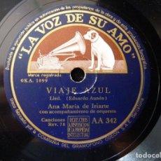 Discos de pizarra: ANA MARIA DE IRIARTE Y ORQUESTA. VIAJE AZUL, LIED. LA POSADA DEL MAR, CANCIÓN. LA VOZ DE SU AMO AA34. Lote 177877573