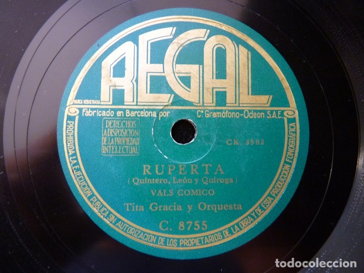 TITA GRACIA Y ORQUESTA. ¿FALDA LARGA O FALDA CORTA? CANCIÓN. RUPERTA, VAL COMICO. REGAL C. 8755 (Música - Discos - Pizarra - Flamenco, Canción española y Cuplé)