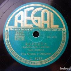 Discos de pizarra: TITA GRACIA Y ORQUESTA. ¿FALDA LARGA O FALDA CORTA? CANCIÓN. RUPERTA, VAL COMICO. REGAL C. 8755. Lote 177877689