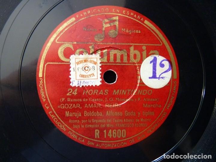 24 HORAS MINTIENDO 11-12. MARUJA BOLDOBA, ALFONSO GODA. ORQ. TEATRO ALBENIZ. DIRIGE F. ALONSO. COLUM (Música - Discos - Pizarra - Flamenco, Canción española y Cuplé)