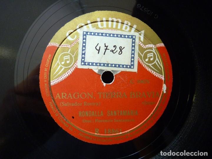 Discos de pizarra: RONDALLA SANTAMARIA. DIRIGE FLORENCIO SANTAMARIA. LA DOLORES - ARAGON, TIERRA BRAVIA. COLUMBIA R1886 - Foto 3 - 177878620